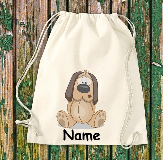 Cotton Gymbag Gymsack Kids Motif Dog with WishNames Animals Nature Meadows Forest Pouch Bag
