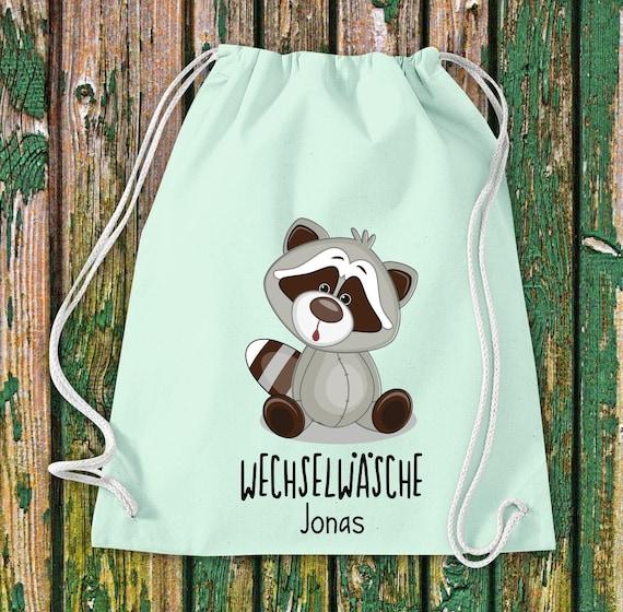 Gym bag Sports bag Change of linen, raccoon with desired text Kita Hort School Cotton Gym bag Bag Bag bag