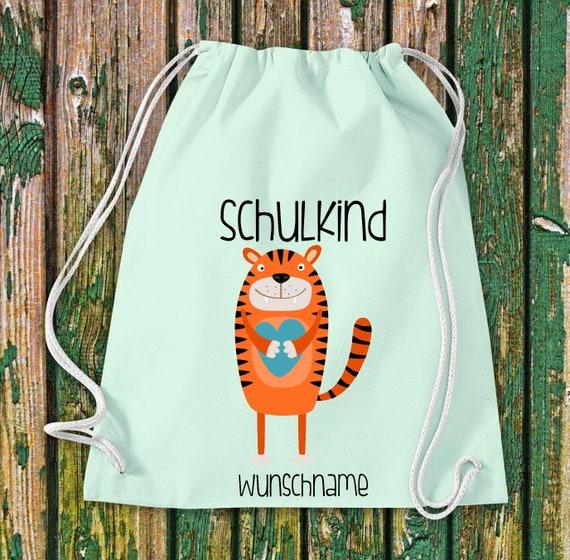 Gym bag Schoolchild Animals Tiger with desired text School Cotton Gym bag Sports bag Bag Bag Enrollment