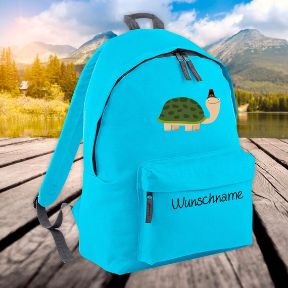 Children's Backpack Animals Turtle with Wish Name Wish Text Kita