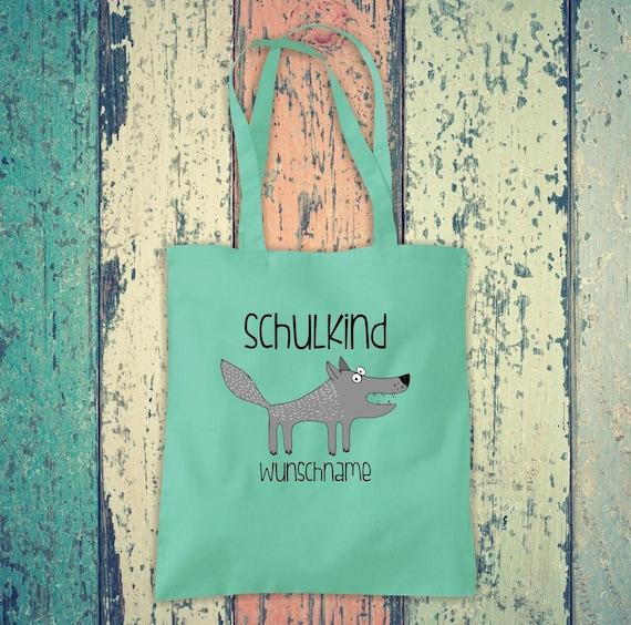 Cloth Bag SchoolChild Animals Wolf with Desired Text School Cotton Jute Sports Bag Bag Bag Enrollment