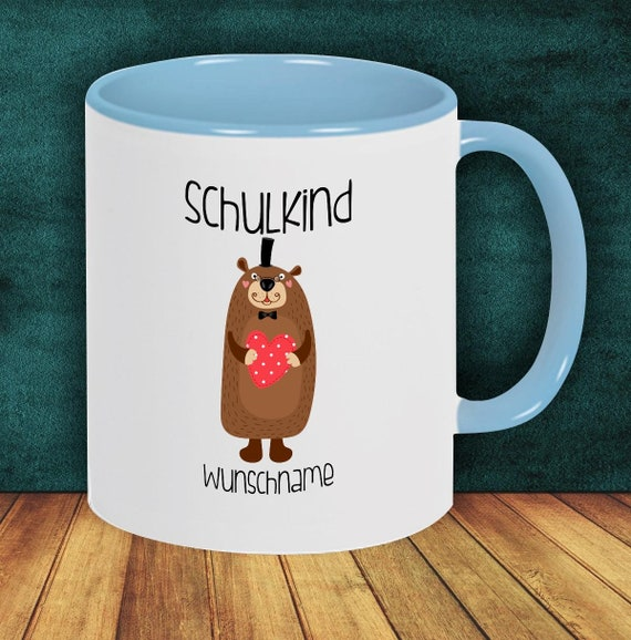 Children Cup Drinking Cup SchoolChild Beaver with Desired Name Enrollment Kita Hort Birthday School Teacup