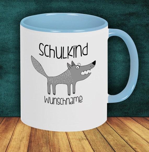 Children Cup Drink mug Schoolchild Wolf with desired name Enrollment Kita Hort Birthday School Teacup