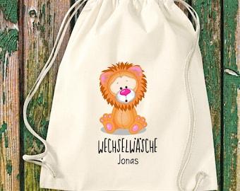 Gym bag Sports bag Change of linen, lion with desired text Kita Hort School Cotton Gym bag Bag bag bag