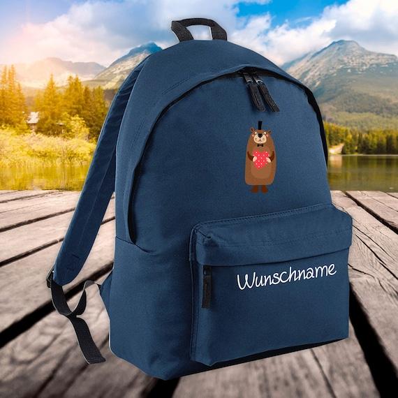 Children backpack animals beaver with desired name wish text kita school enrolment school hoard gift