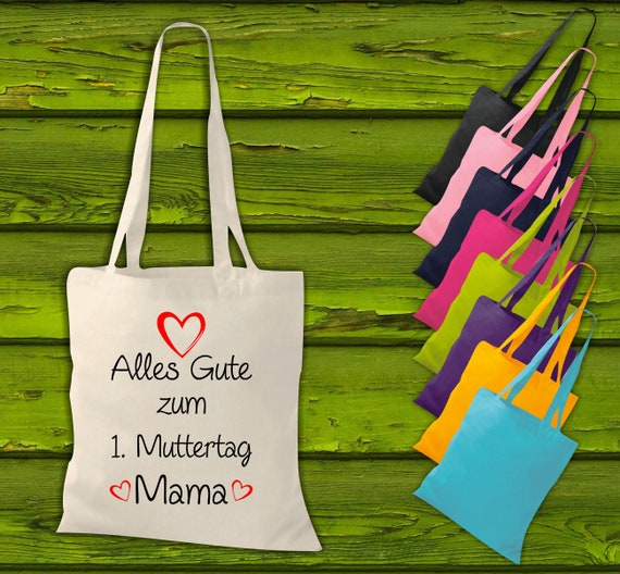 """shirtinstyle fabric bag """"Happy 1st Mother's Day mom"""" jute cotton bag shopping bag gift idea"""
