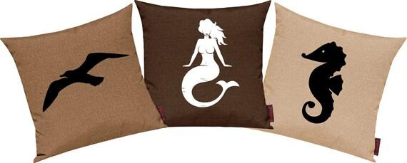 Pillow cases 3-set sofa cushion Maritim seagull mermaid seahorse