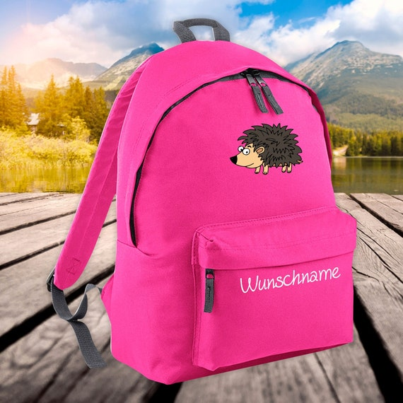 Children's Backpack Animals Hedgehog with Wish Name Wish Text Kita