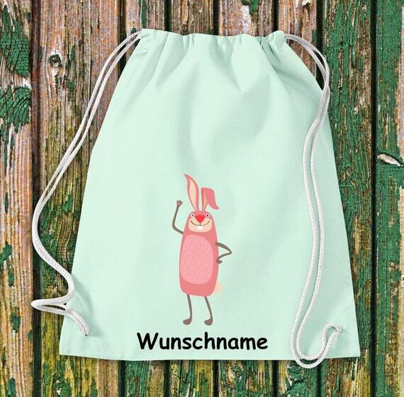 """Gymnastics bag sports bag """"bunny with wish name"""" wish text name Kita Hort School cotton gym bag bag"""