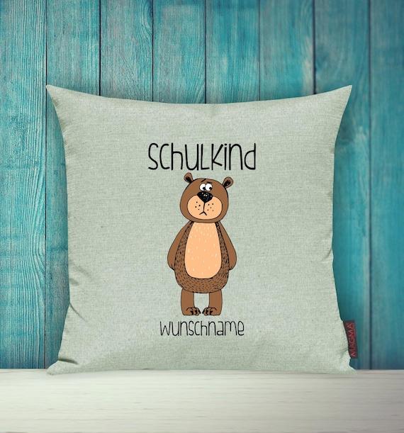 Pillow Case SchoolChild Sofa Pillow Animals Animal Bear Wish Name Decoration Children's Room Gift Animals Nature Forest School Hort Kita