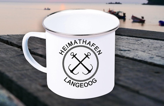 """Emaille Becher """"Heimathafen Langeoog Urlaub Familie"""" Tasse Kaffeetasse Kaffeebecher Mug Retro"""