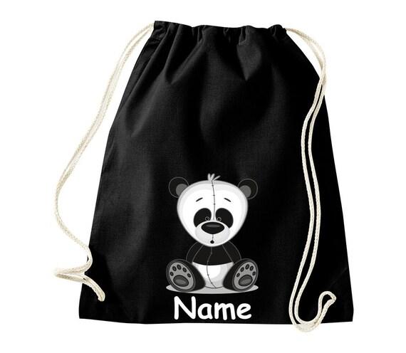 Baumwolle Turnbeutel Gymsack Kinder Motiv Panda mit Wunschnamen