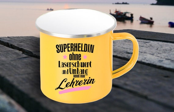 "Enamel Mug ""Superheroine without laser sword and cloak called teacher"" cup coffee cup coffee mug Mug Retro"