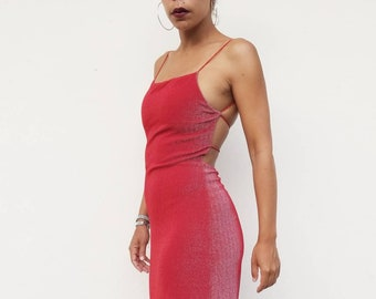 b93479a324f Vintage 90s Red Shimmer Spaghetti Strap Open Back Dress Gown, Small
