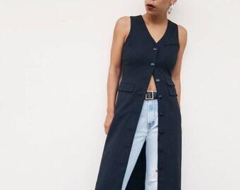 638580c13cb Vintage 90s Black Wool Pinstripe Button Down Dress Duster Vest