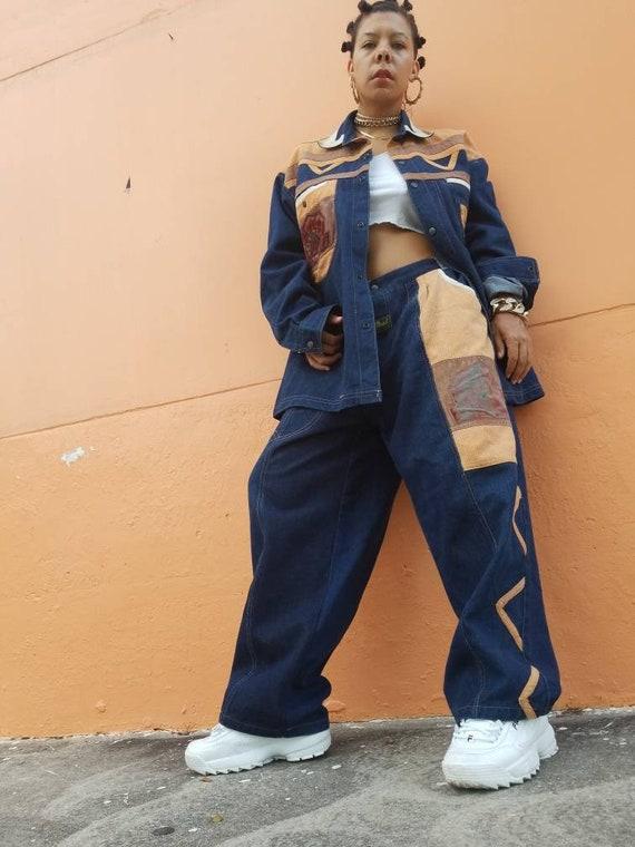 Vintage 90s Men's Denim Corduroy Jacket Pants Jean