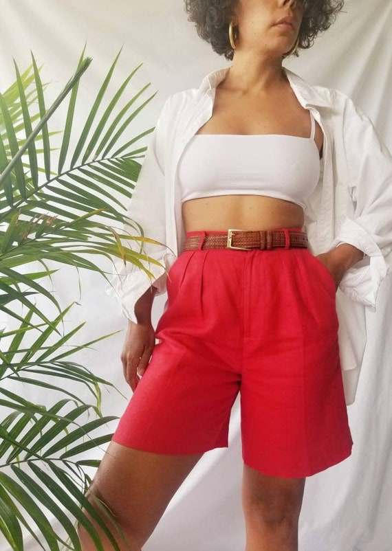 vintage 80s nordstrom red linen high-waisted pleat