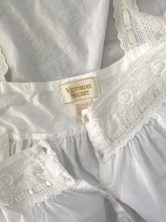 victoria's secret gold label white cotton nightgo… - image 7