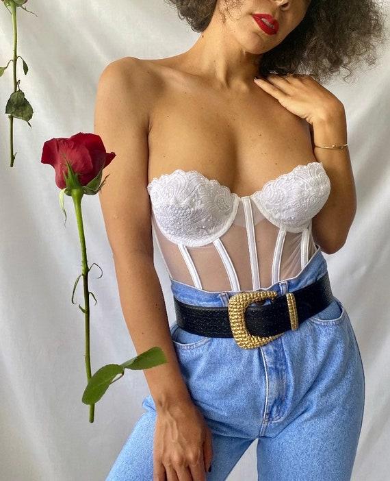 victoria's secret white satin lace and mesh corse… - image 3