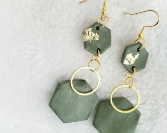 Army Green and Gold Geometric Earrings