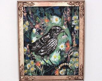 Red Winged Black Bird Vignette. Bird painting. Female bird original painting. Modern contemporary art. Midwest artist. painting original