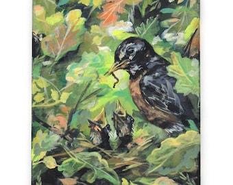 Snack Time. Robin and baby chicks painting. Mother robin art. Bird watcher gift. Original art on canvas. Robin painting. Amanda Stumpenhorst