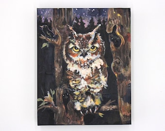 Night Watch. Great horned owl painting. Night forest art. Spooky art. Owl art. Original painting on canvas. Ready to hang art. Halloween art