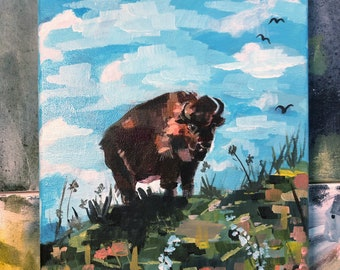 Standing in the sun. Bison painting. Midwest artist. Original painting on canvas. Prairie artwork. Bison artwork. Illinois painting.