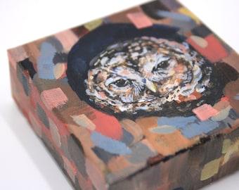 Owls of Mystery No. 4 Barred Owl painting. Cute owl art. Miniature painting. Shelf art gallery. Cute shelf decor idea. Housewarming gift