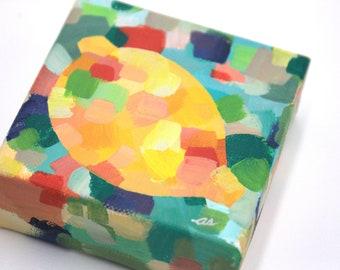 Abstracted Lemon. Fruit painting. Kitchen art. Abstract citrus painting. Lemon painting. Citrus Art. Gallery art wall. Cute mini art
