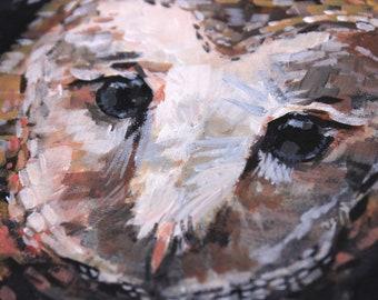 Barn Owl. Original painting. Owl art on canvas. Bird painting. Contemporary art. Modern art gallery wall. Living room decor. Owl fine art