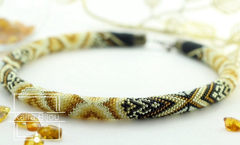 PDF Pattern for bead crochet necklace PNG File Jewelry patterns beads rope gold colors amber pattern