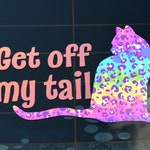Get Off My Tail Decal in Rainbow Leopard / Cat Car Decal / Cat Themed Gift