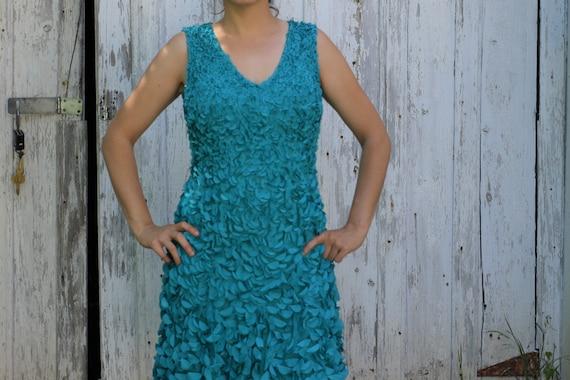 Theia Flower Petal Applique Dress