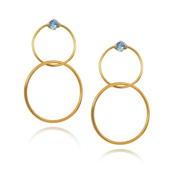Interlocking Gem Statement Hoops in Sapphire blue