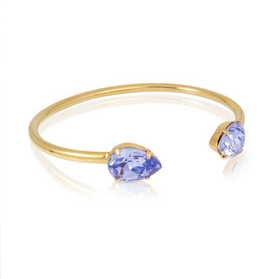 Crystal Drop Cuff Bracelet in Lavender
