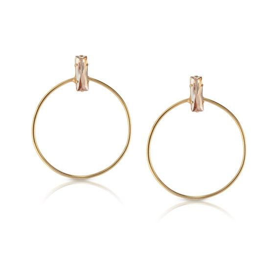 Baguette Crystal Hoop Earrings in Golden