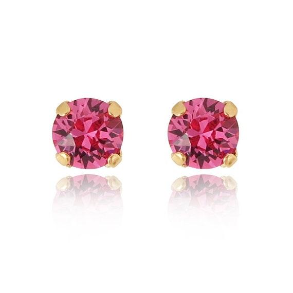 Swarovski Stud Earrings in Rose Pink