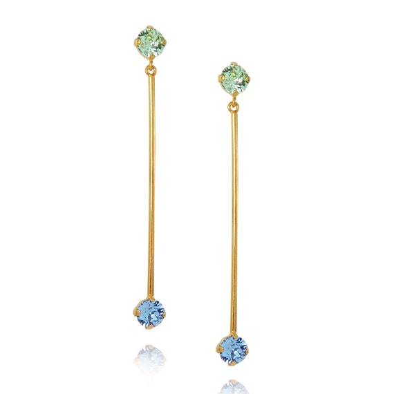 Stone Bar Earrings in Sapphire blue and Chrysolite green