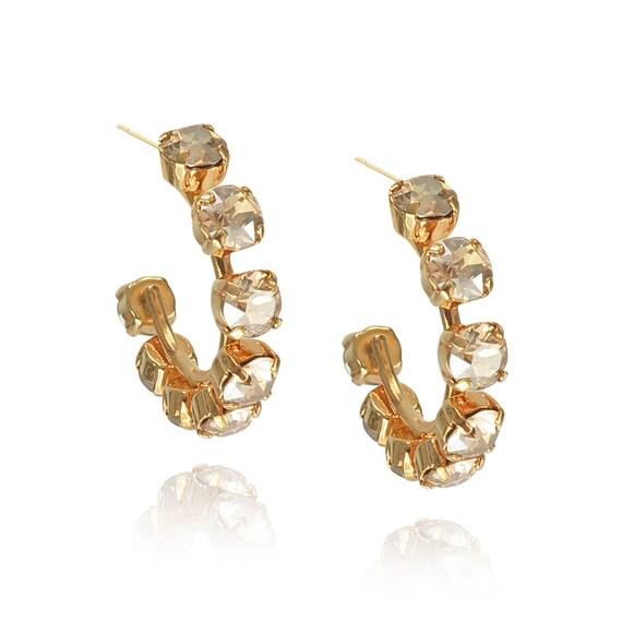 Crystal Studded Hoop Earrings (Mini) in Golden
