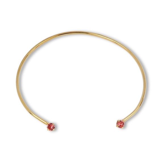 Gold Collar Choker Necklace with crystal accent MINI (with Rose Peach stones)