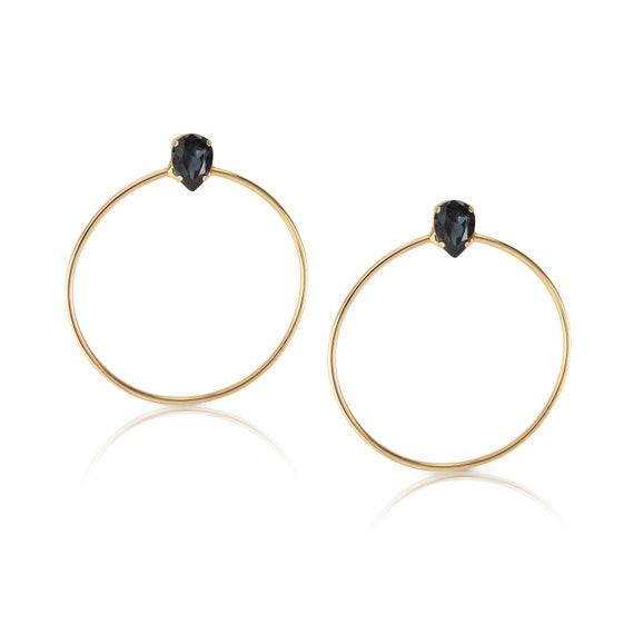 Stone Side Hoops in Black Diamond