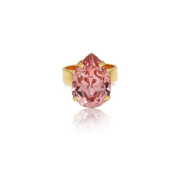 Midi Drop Crystal Ring in Vintage