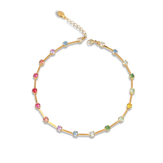 Delicate Crystal Chain Choker Necklace in Rainbow