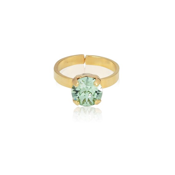 Crystal Stud Ring in Chrysolite Green