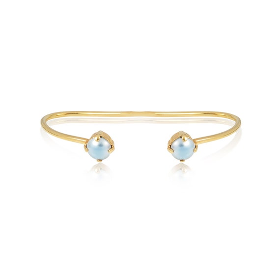Pearl stud Palm Cuff in Baby Blue