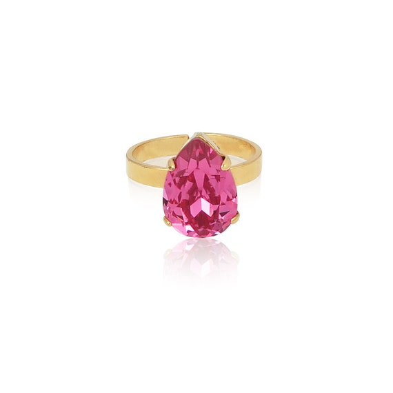 Mini Drop Crystal Ring in Rose Pink