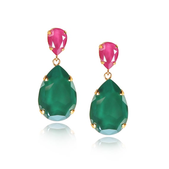 Classic Drop Earrings in Emerald Green and Peony Pink