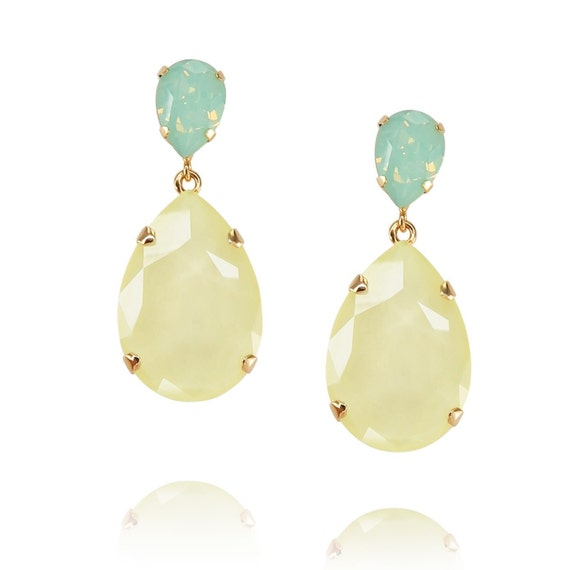 Classic Drop Earrings in Lilac and Pastel Yellow and Green