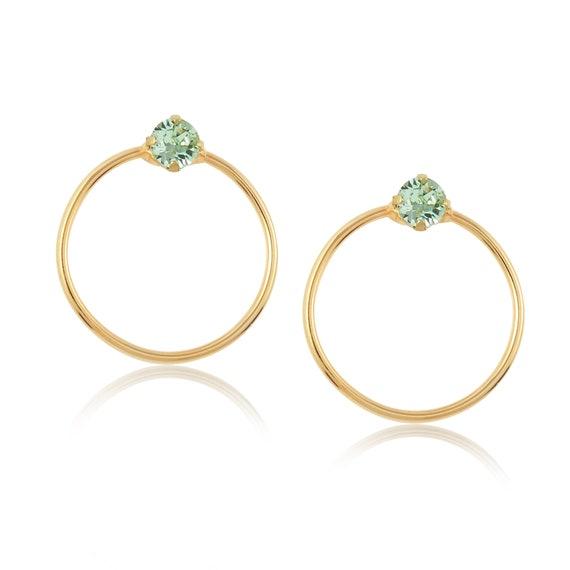 Crystal Stud Hoop Earrings (Mini) in Chrysolite green